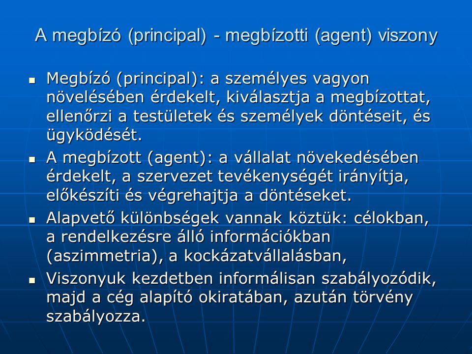 A megbízó (principal) - megbízotti (agent) viszony