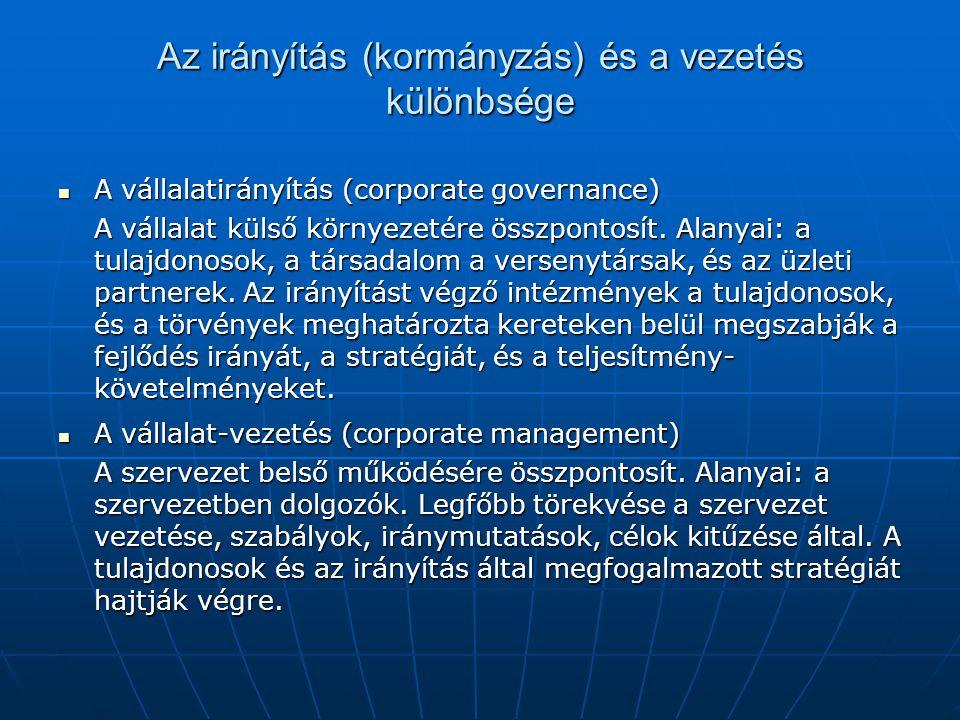 Az irányítás (kormányzás) és a vezetés különbsége