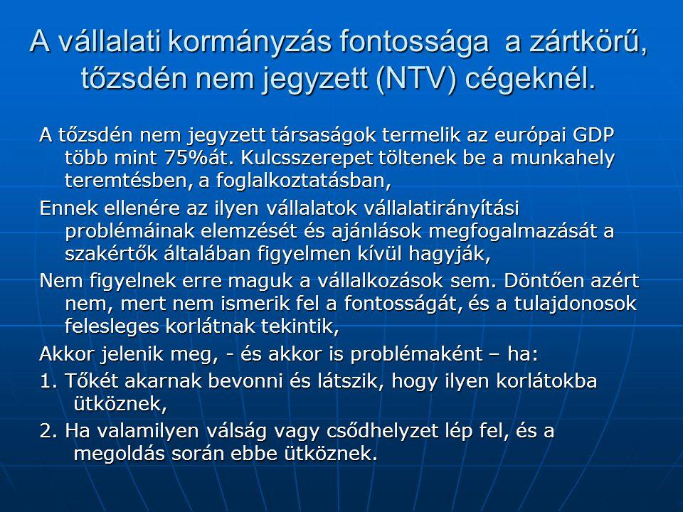 A vállalati kormányzás fontossága a zártkörű, tőzsdén nem jegyzett (NTV) cégeknél.