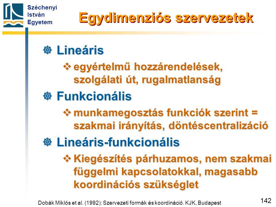 Lineáris szervezet Dobák Miklós és Bakacsi Gyula nyomán - saját ábra