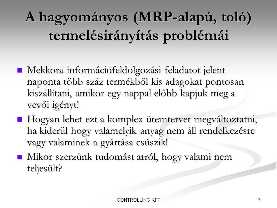 A hagyományos (MRP-alapú, toló) termelésirányítás problémái