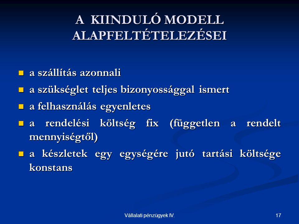 A KIINDULÓ MODELL ALAPFELTÉTELEZÉSEI