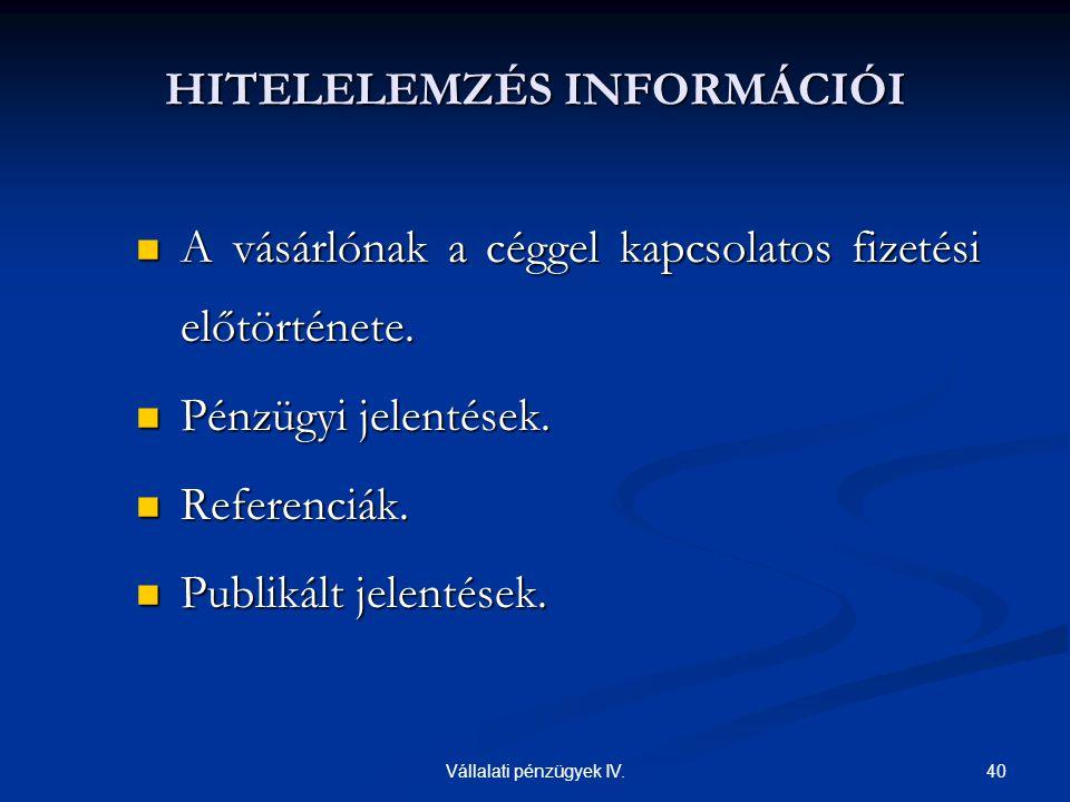 HITELELEMZÉS INFORMÁCIÓI