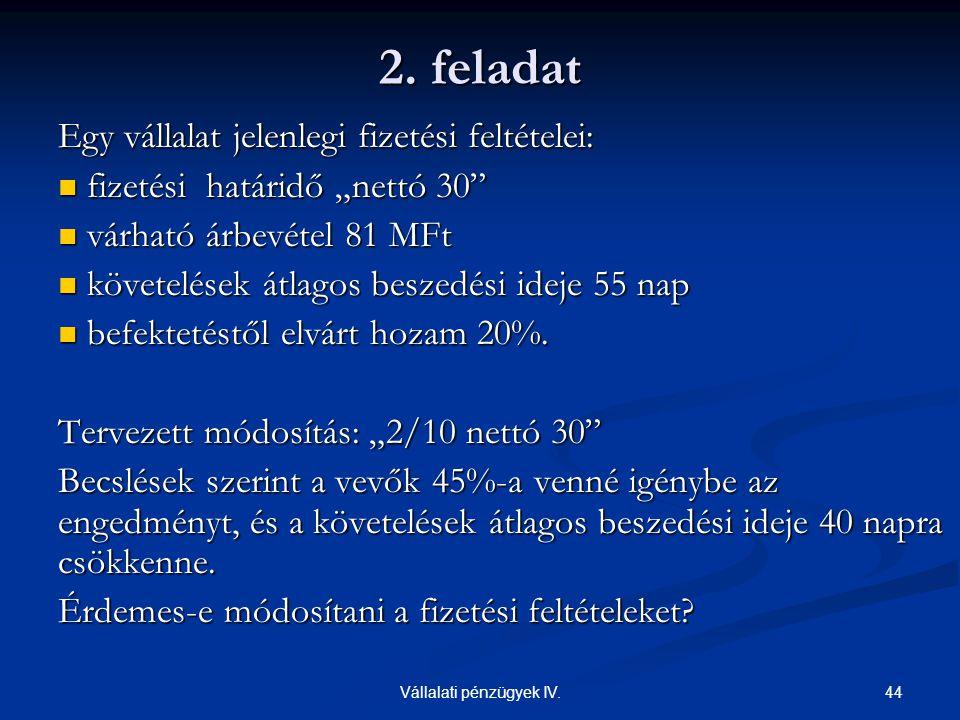 Vállalati pénzügyek IV.