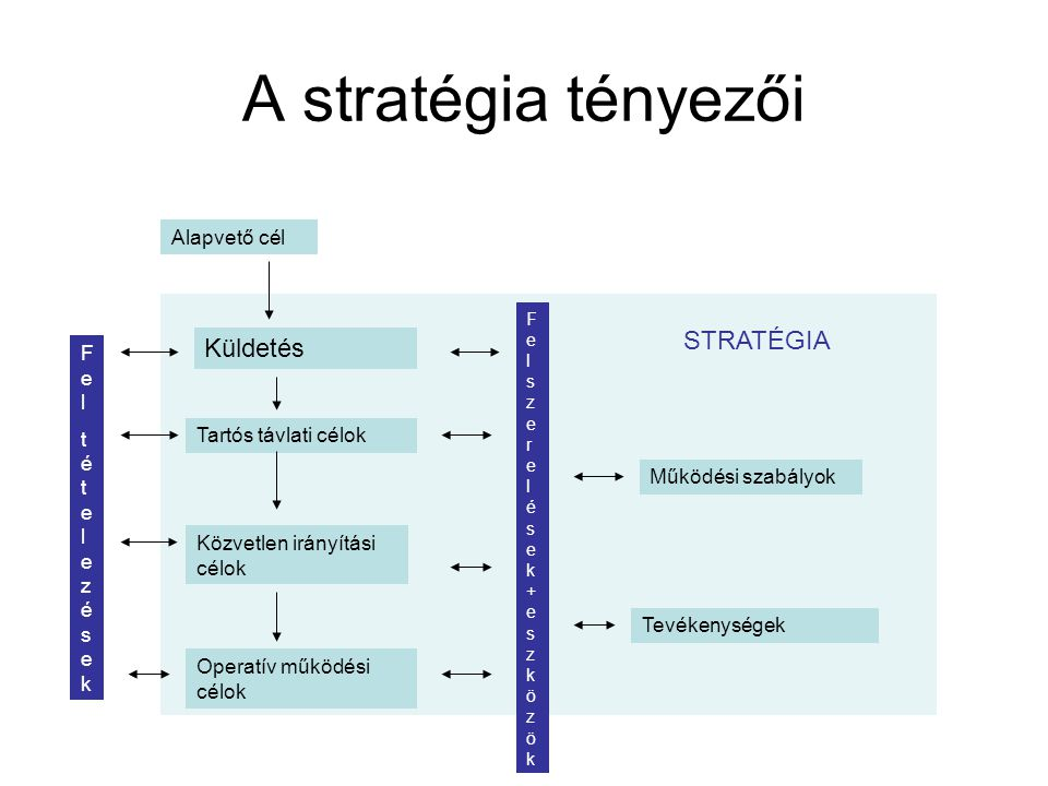 A stratégia tényezői STRATÉGIA Küldetés Alapvető cél Fel tételezések
