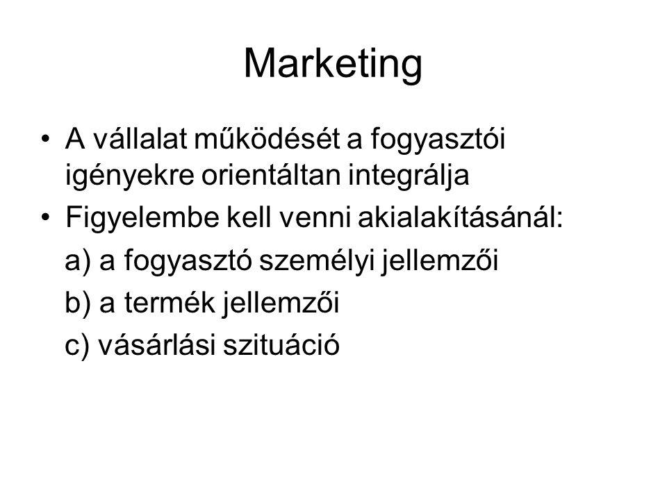 Marketing A vállalat működését a fogyasztói igényekre orientáltan integrálja. Figyelembe kell venni akialakításánál: