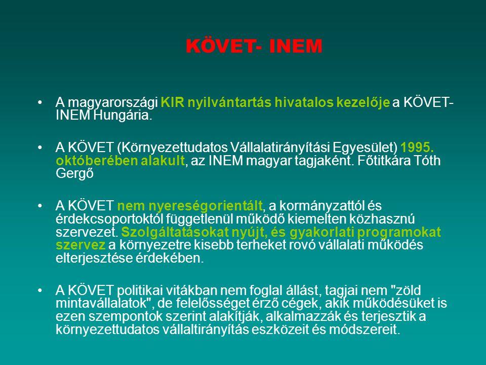 KÖVET- INEM A magyarországi KIR nyilvántartás hivatalos kezelője a KÖVET-INEM Hungária.