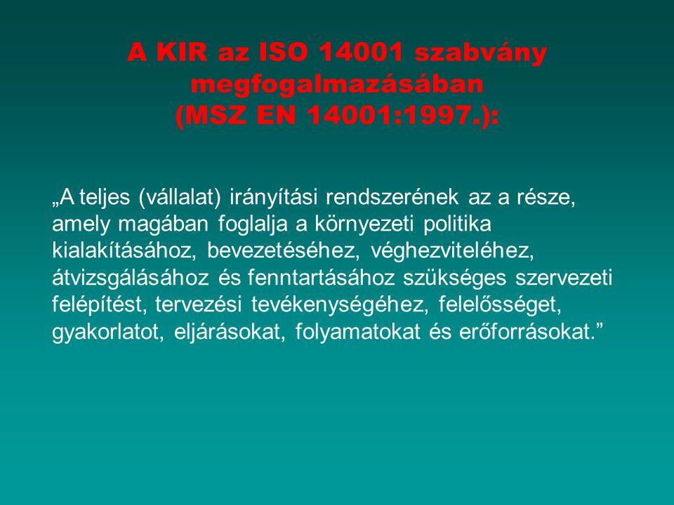 A KIR az ISO 14001 szabvány megfogalmazásában (MSZ EN 14001:1997.):