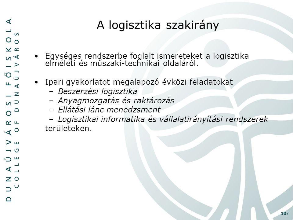 A logisztika szakirány