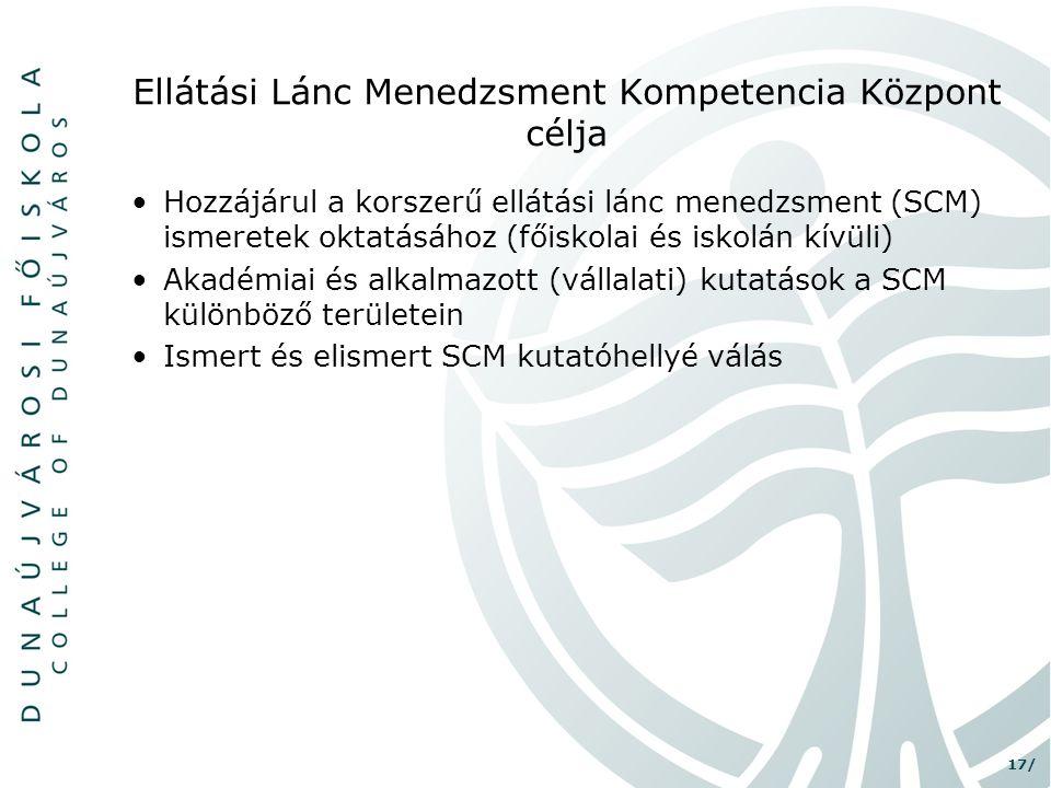Ellátási Lánc Menedzsment Kompetencia Központ célja