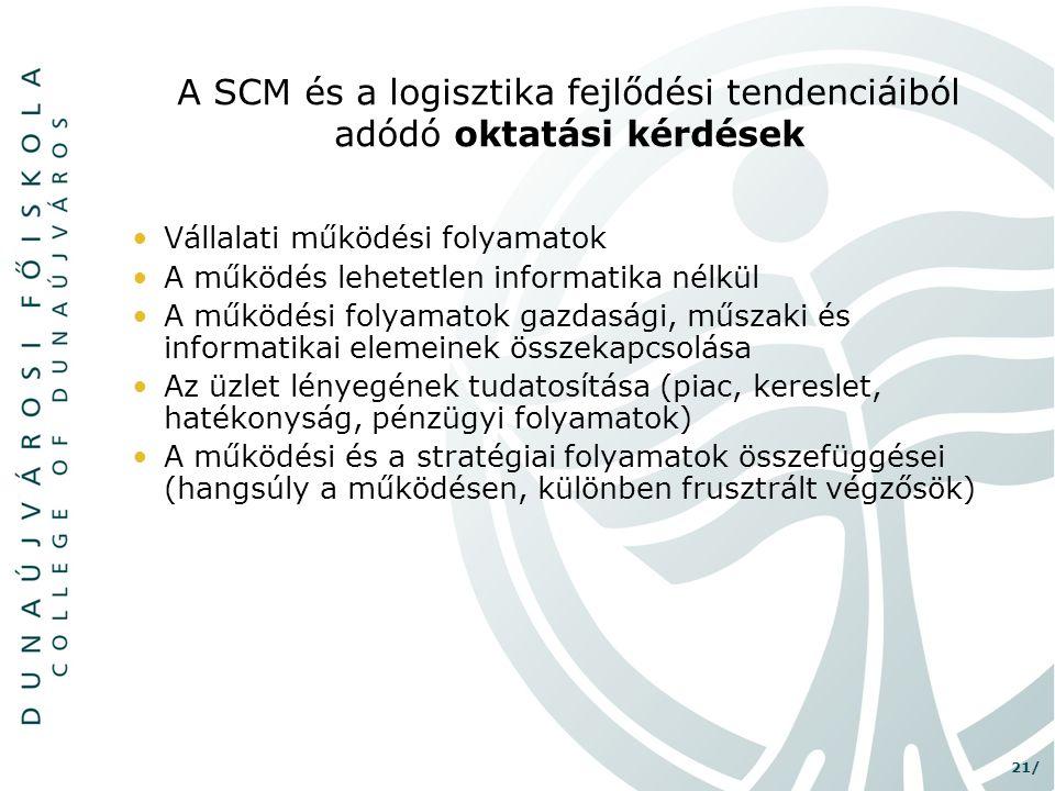 A SCM és a logisztika fejlődési tendenciáiból adódó oktatási kérdések