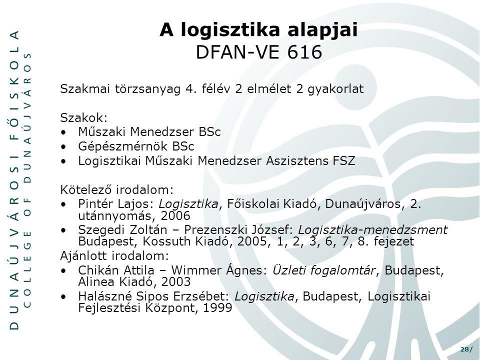 A logisztika alapjai DFAN-VE 616