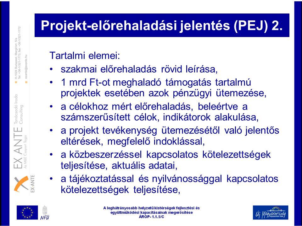 Projekt-előrehaladási jelentés (PEJ) 2.