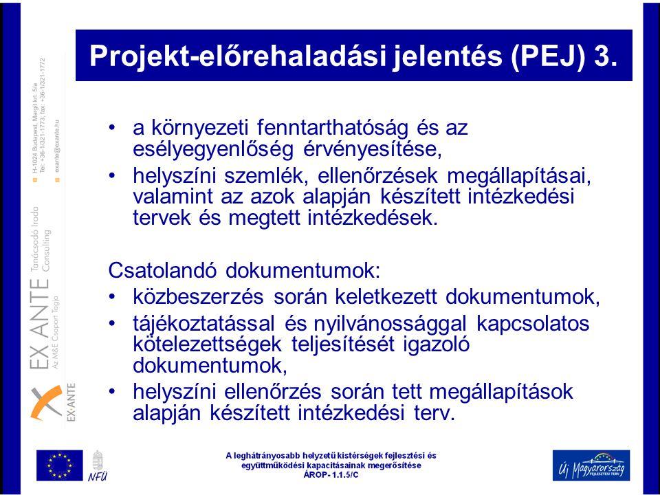 Projekt-előrehaladási jelentés (PEJ) 3.