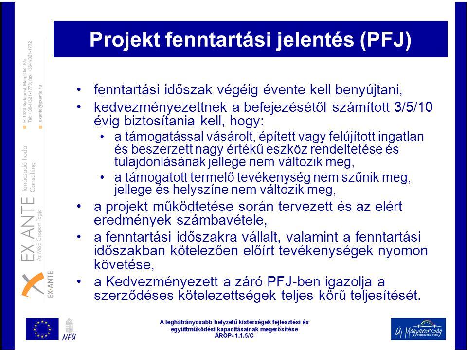Projekt fenntartási jelentés (PFJ)
