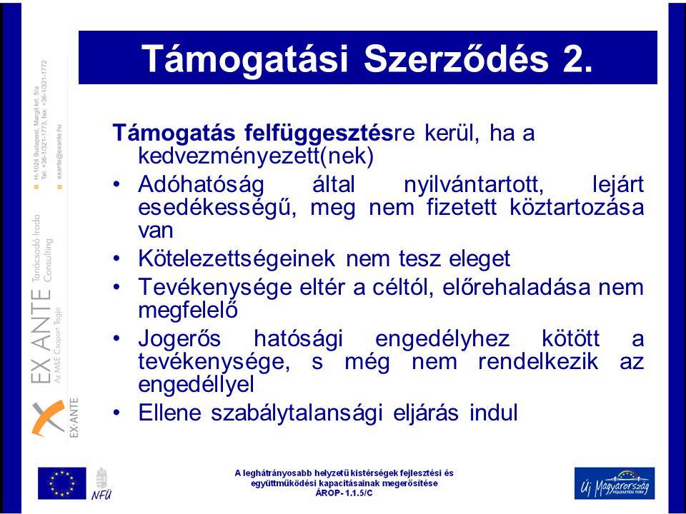 Támogatási Szerződés 2. Támogatás felfüggesztésre kerül, ha a kedvezményezett(nek)