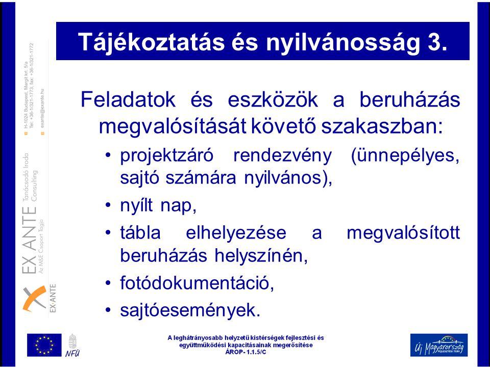 Tájékoztatás és nyilvánosság 3.