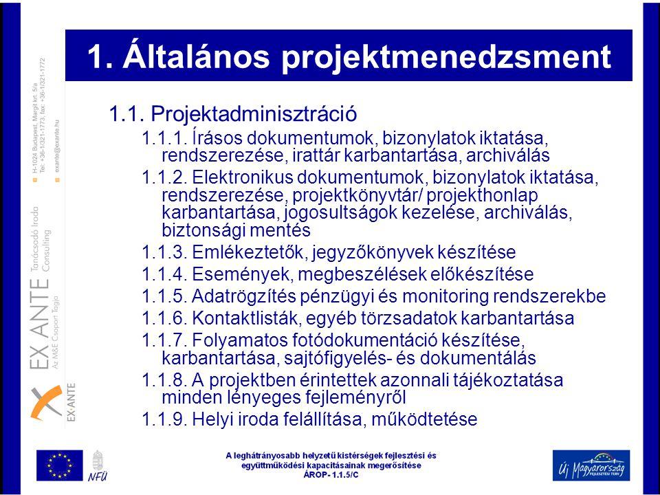 1. Általános projektmenedzsment