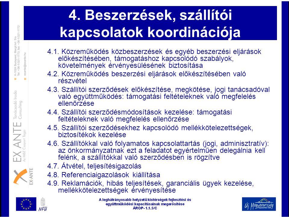 4. Beszerzések, szállítói kapcsolatok koordinációja