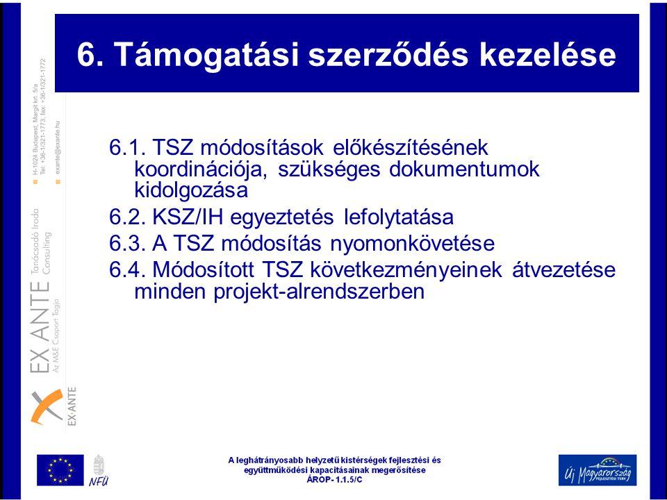 6. Támogatási szerződés kezelése