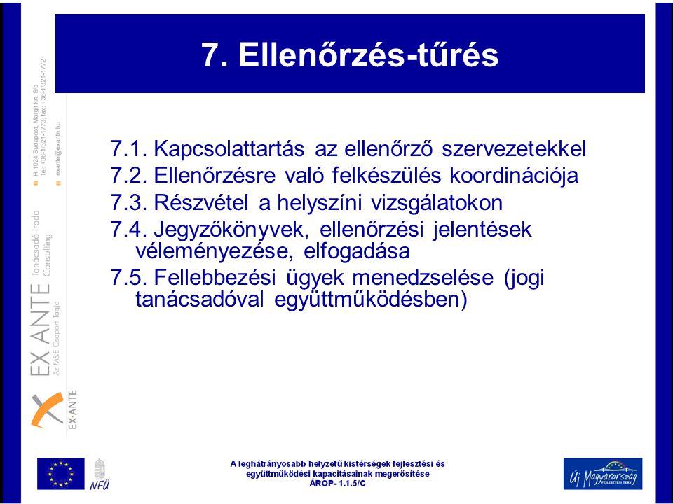 7. Ellenőrzés-tűrés 7.1. Kapcsolattartás az ellenőrző szervezetekkel