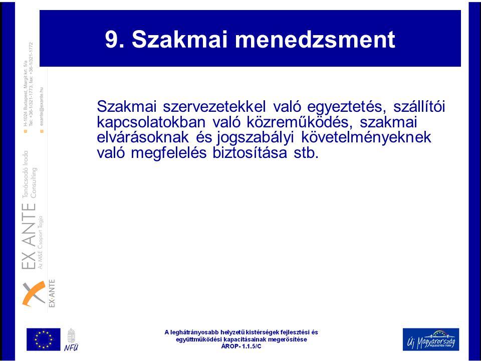 9. Szakmai menedzsment