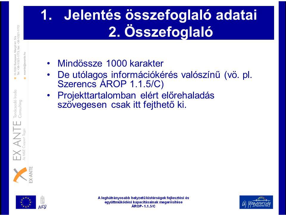 Jelentés összefoglaló adatai 2. Összefoglaló
