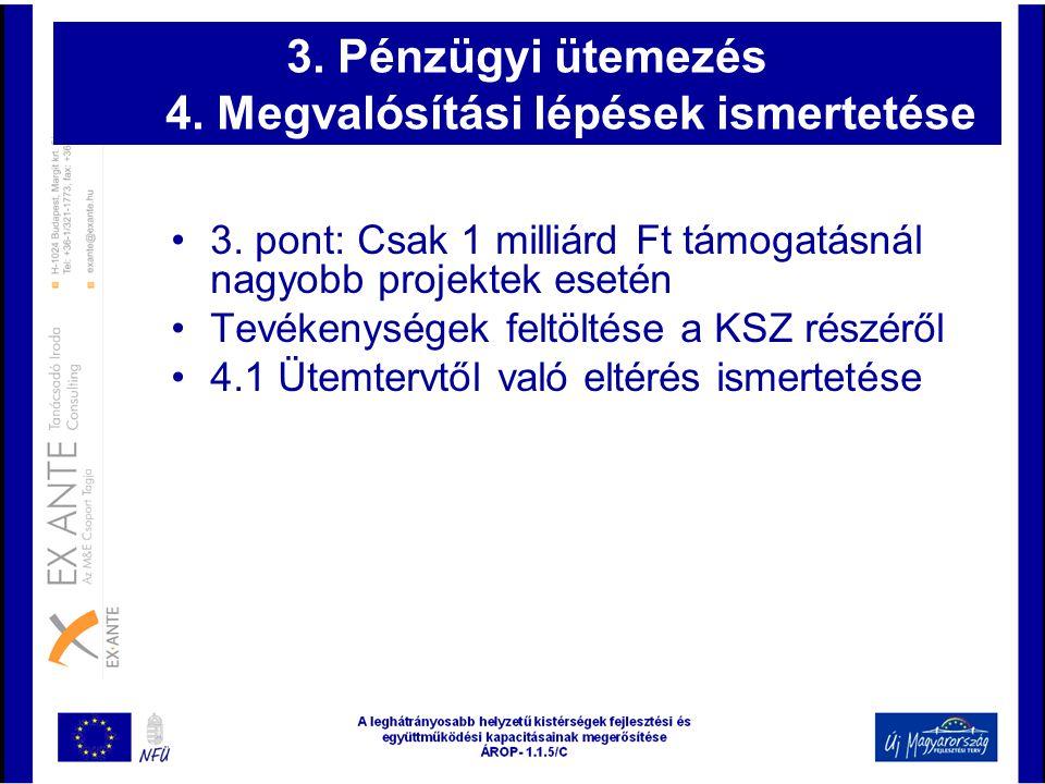 3. Pénzügyi ütemezés 4. Megvalósítási lépések ismertetése