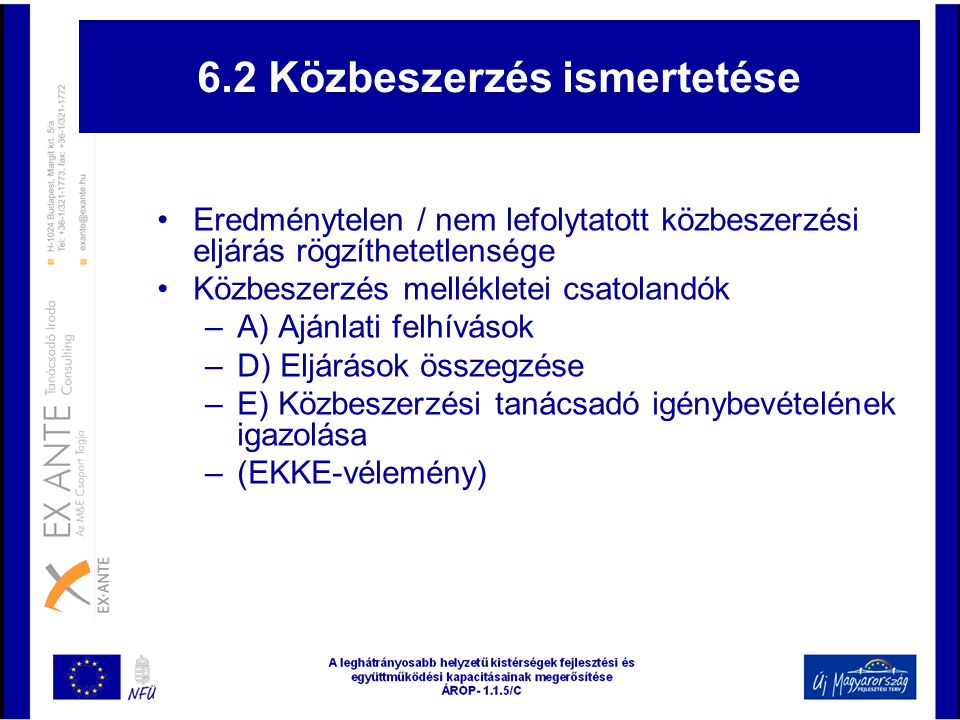 6.2 Közbeszerzés ismertetése