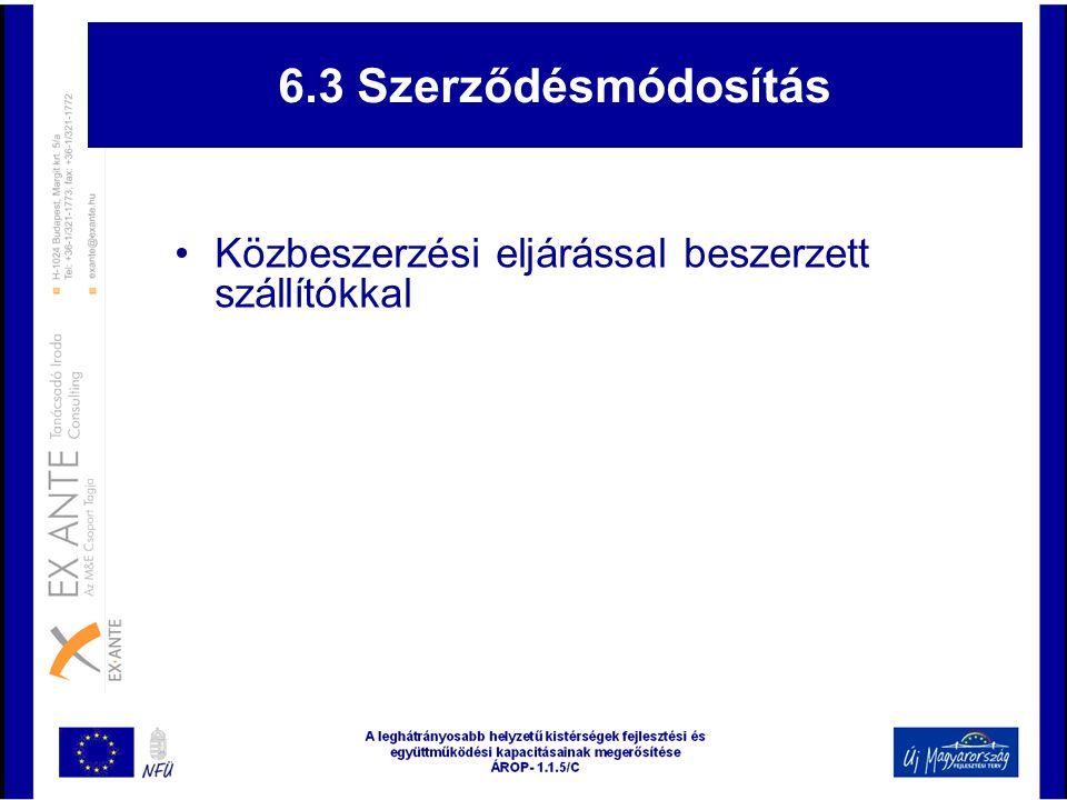 6.3 Szerződésmódosítás Közbeszerzési eljárással beszerzett szállítókkal