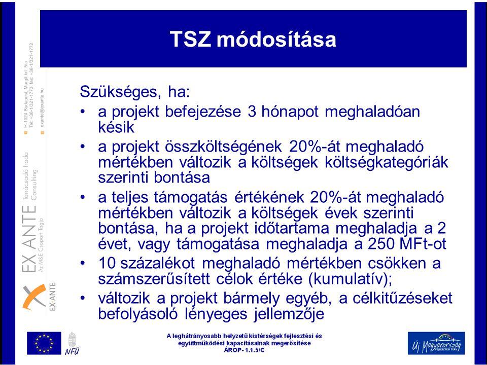 TSZ módosítása Szükséges, ha: