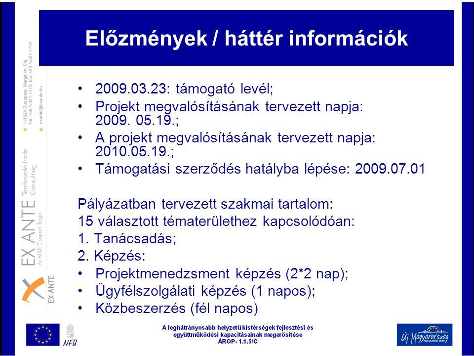 Előzmények / háttér információk