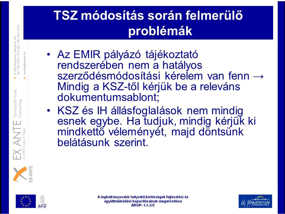 TSZ módosítás során felmerülő problémák
