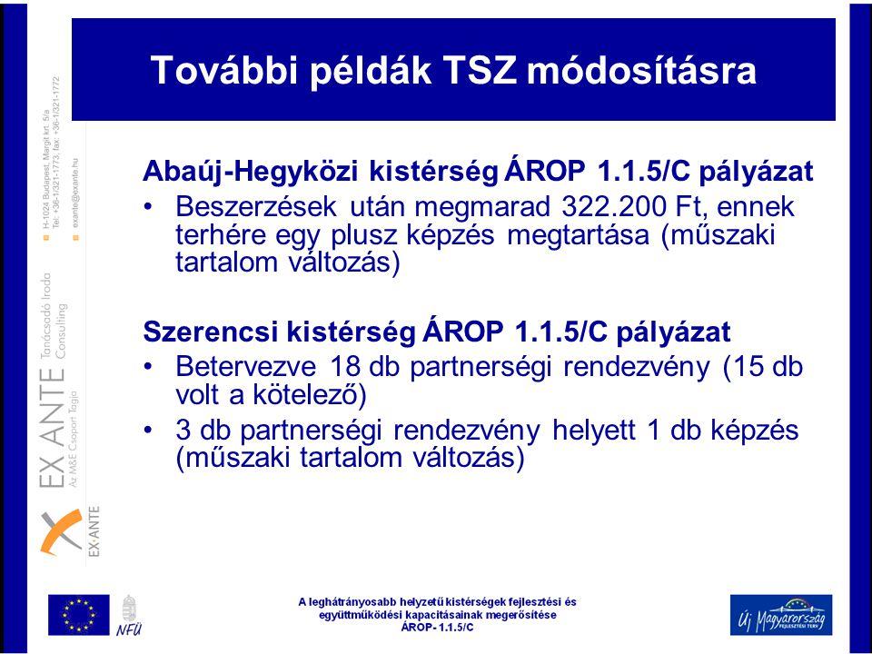 További példák TSZ módosításra