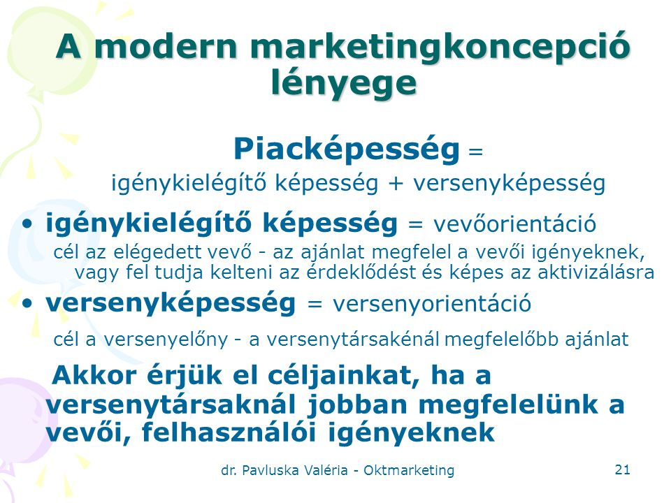 A modern marketingkoncepció lényege