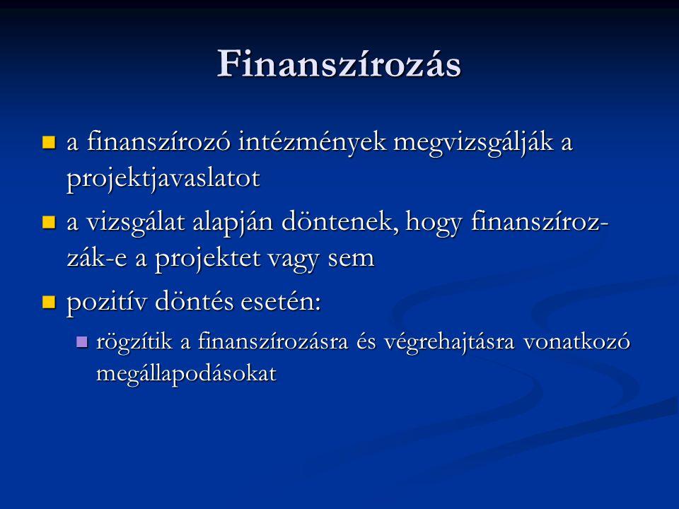 Finanszírozás a finanszírozó intézmények megvizsgálják a projektjavaslatot.