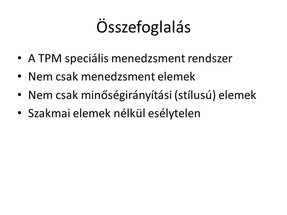 Összefoglalás A TPM speciális menedzsment rendszer