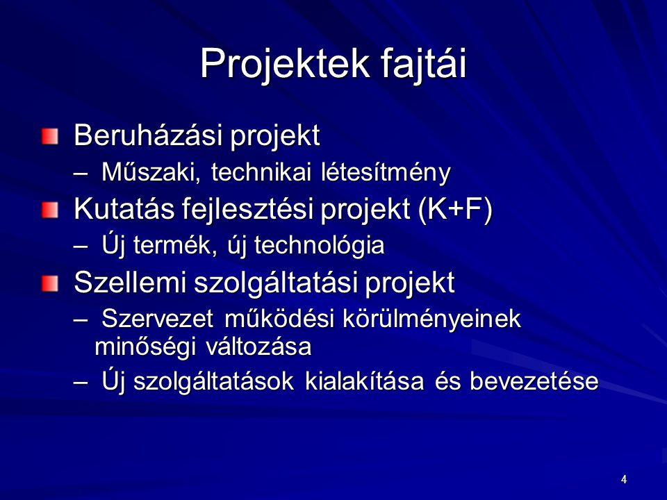 Projektek fajtái Beruházási projekt Kutatás fejlesztési projekt (K+F)