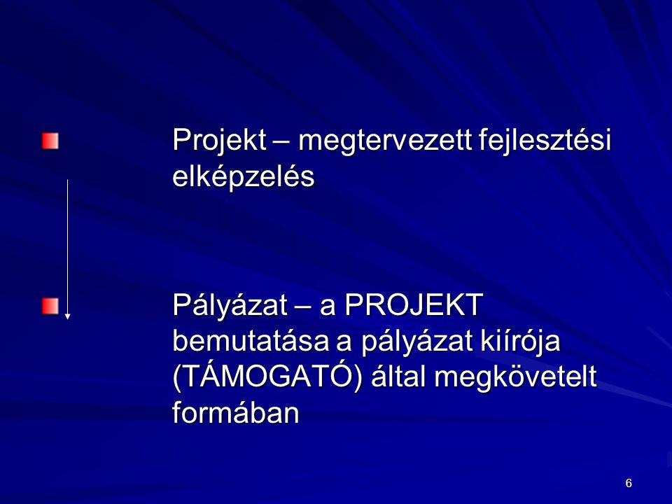 Projekt – megtervezett fejlesztési elképzelés