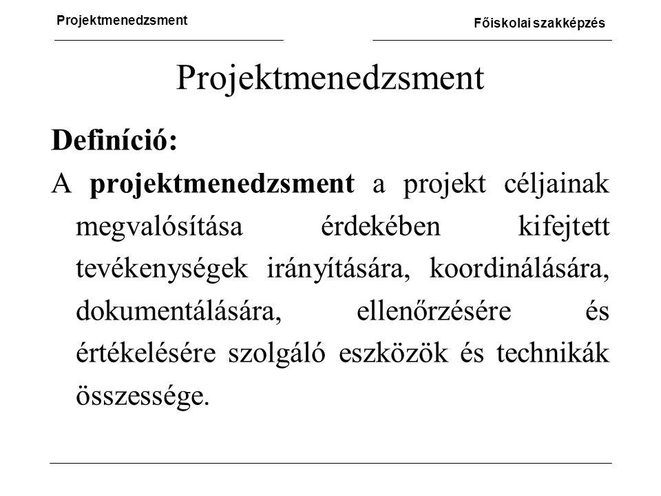 Projektmenedzsment Definíció: