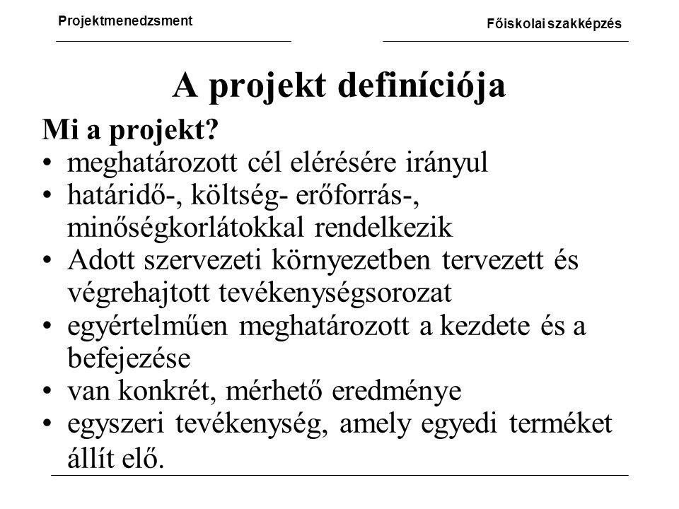 A projekt definíciója Mi a projekt