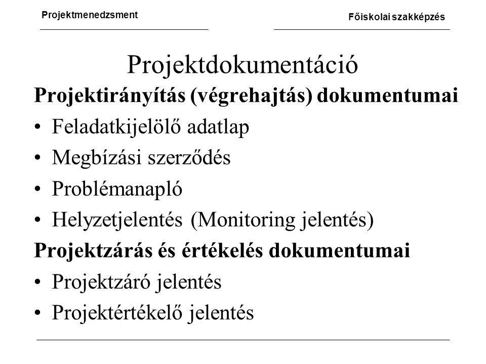 Projektdokumentáció Projektirányítás (végrehajtás) dokumentumai