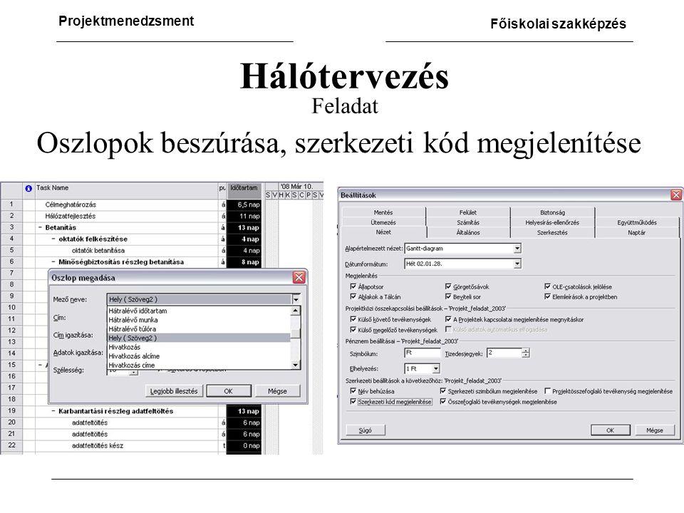 Hálótervezés Feladat Oszlopok beszúrása, szerkezeti kód megjelenítése