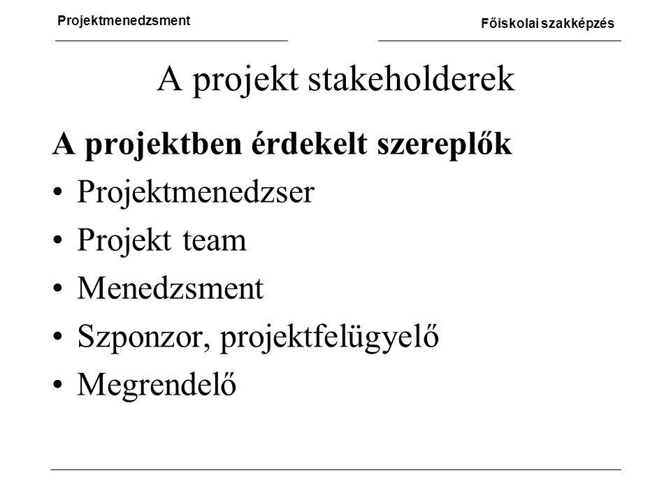 A projekt stakeholderek