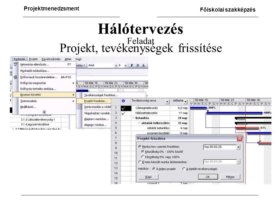Projekt, tevékenységek frissítése