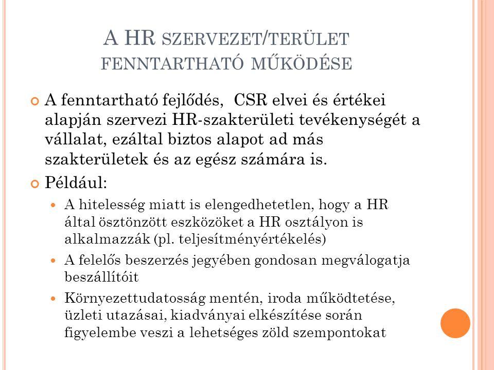 A HR szervezet/terület fenntartható működése