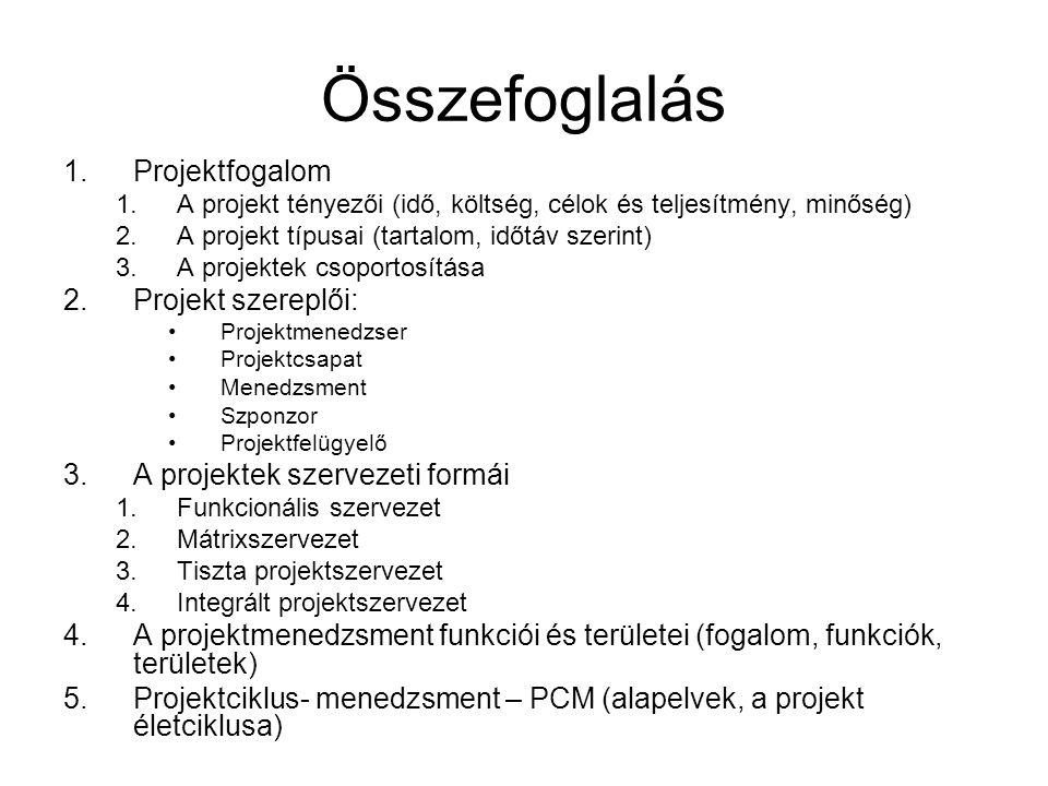 Összefoglalás Projektfogalom Projekt szereplői: