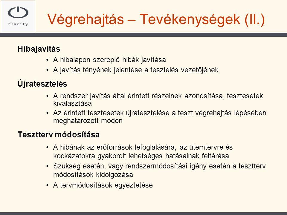 Végrehajtás – Tevékenységek (II.)