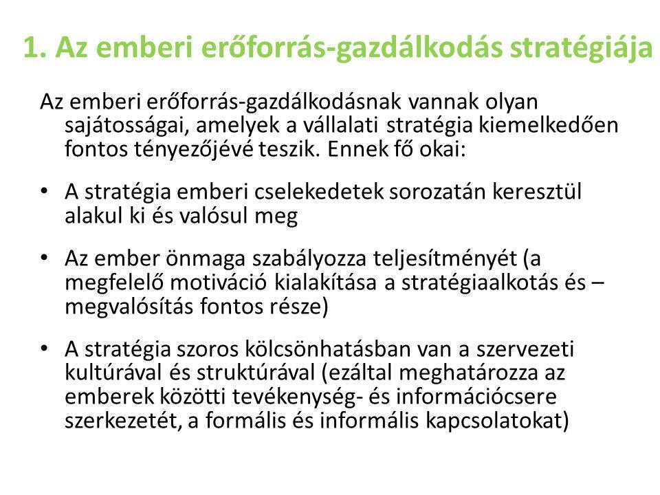 1. Az emberi erőforrás-gazdálkodás stratégiája