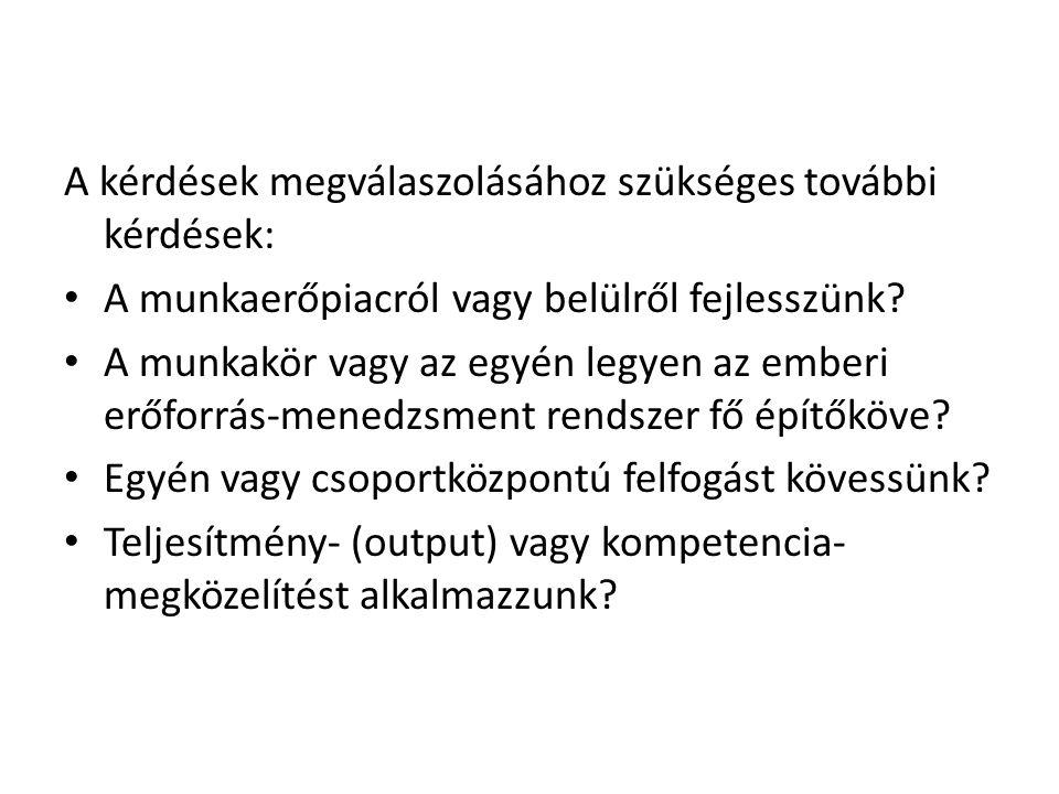 A kérdések megválaszolásához szükséges további kérdések: